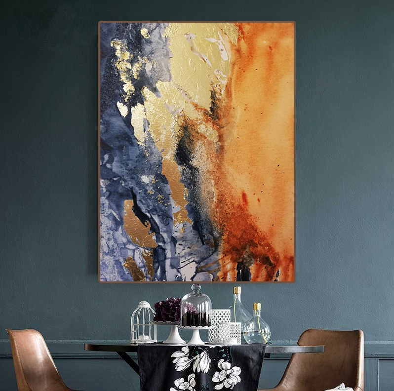 Abstract painting original Watercolor painting Acrylic fire and water Gold painting Large canvas living room wall art