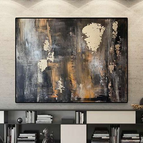 Large black gold leaf painting canvas Black silver painting original Palette knife textured painting
