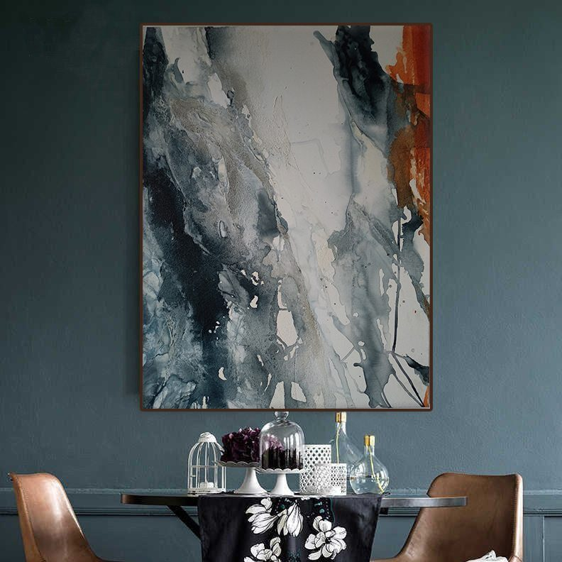 Large abstract painting canvas Blue acrylic painting original abstract Contemporary texture wall decor