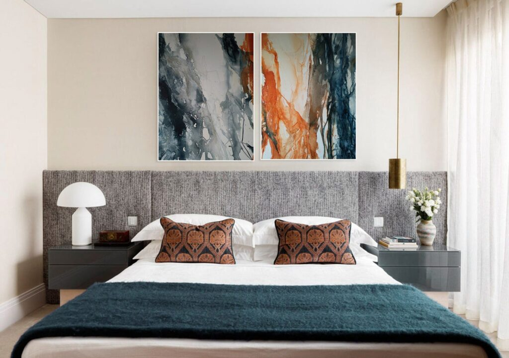 Diptych acrylic painting on canvas Large original abstract art Watercolor painting fire and water for living room