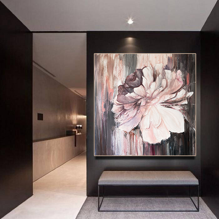 Peony flower original painting on canvas Large textured flower painting abstract