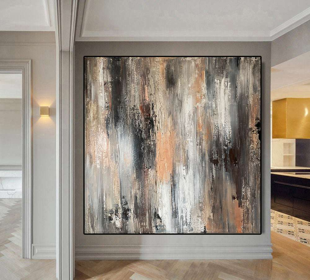 Silver rose gold abstract painting original Textured painting on canvas framed