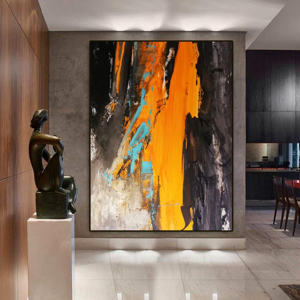 Abstract acrylic painting Original canvas Extra large Black and Orange Wall art painting for living room Impressionizm