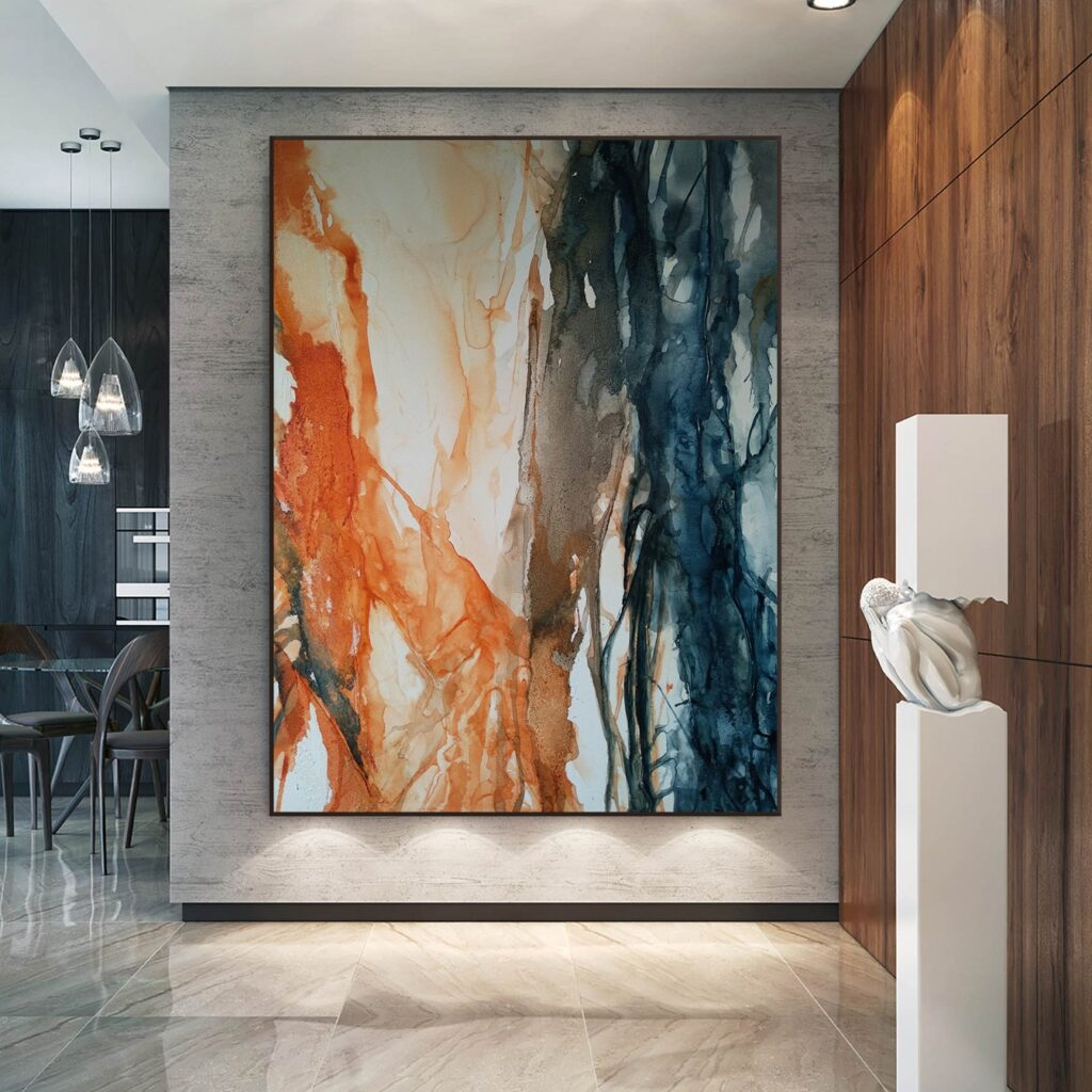 Abstract painting original on canvas Watercolor painting Acrylic fire and water Large contemporary wall art